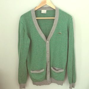 Lacoste green and white striped cardigan